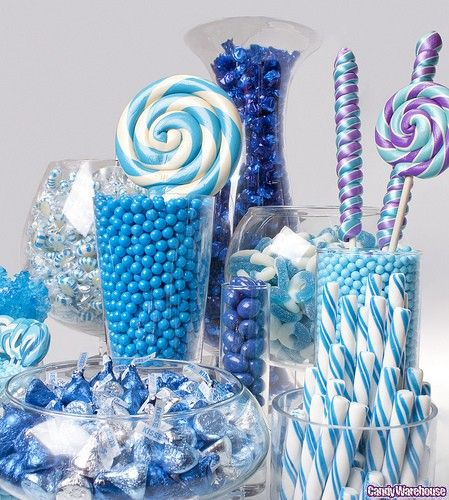 Blue candy for wedding candy bar.