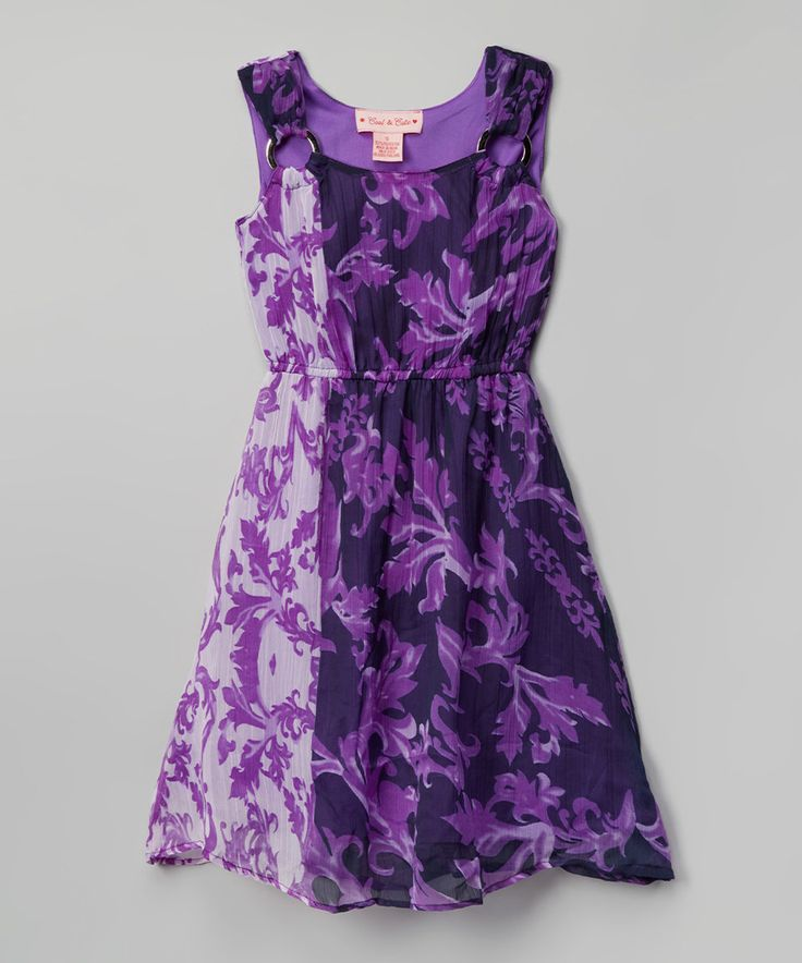 Love this Cool and Cute Purple Floral Embellished-Shoulder Skater Dress - Girls by Cool and Cute on #zulily! #zulilyfinds