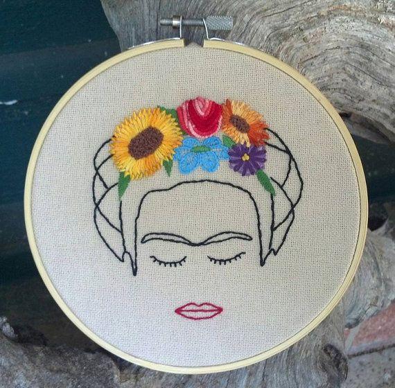 Arte del bordado de Frida Kahlo por rwnaturalhealing en Etsy