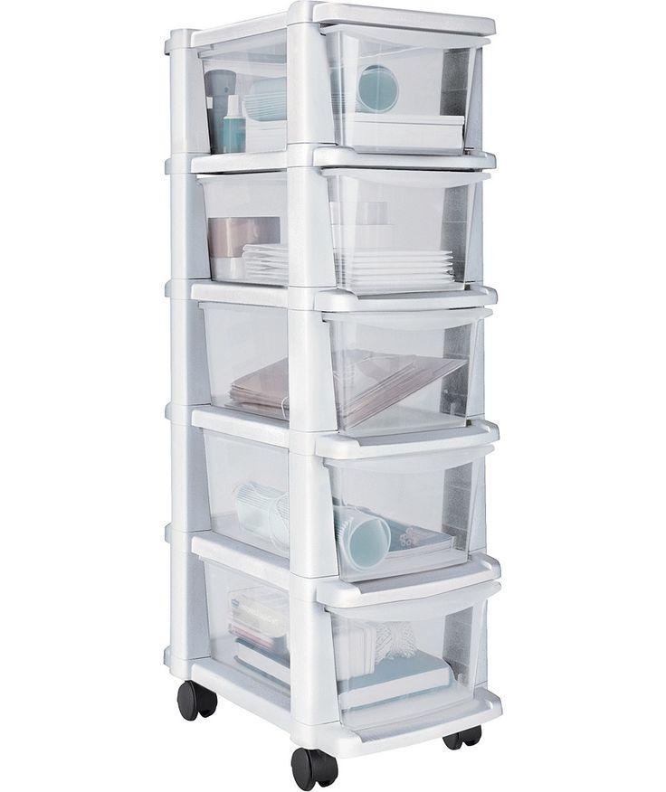 En Suite? Tall 5 Drawer Plastic Slim Tower Storage Unit