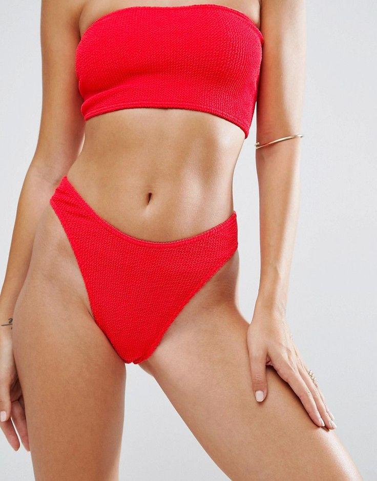 ASOS Mix and Match Crinkle High Leg Hipster Bikini Bottom - Red
