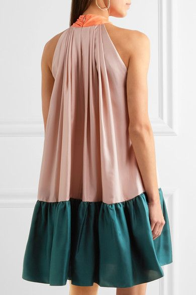 Roksanda - Elva Color-block Silk-twill Halterneck Dress - Blush - UK