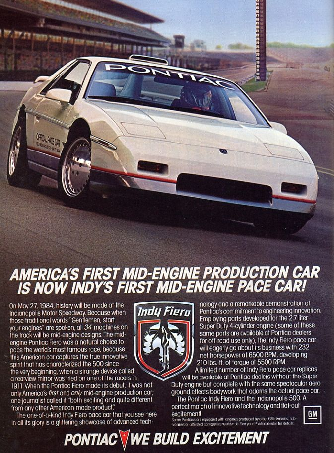 1984 Fiero Pace Car advertisement