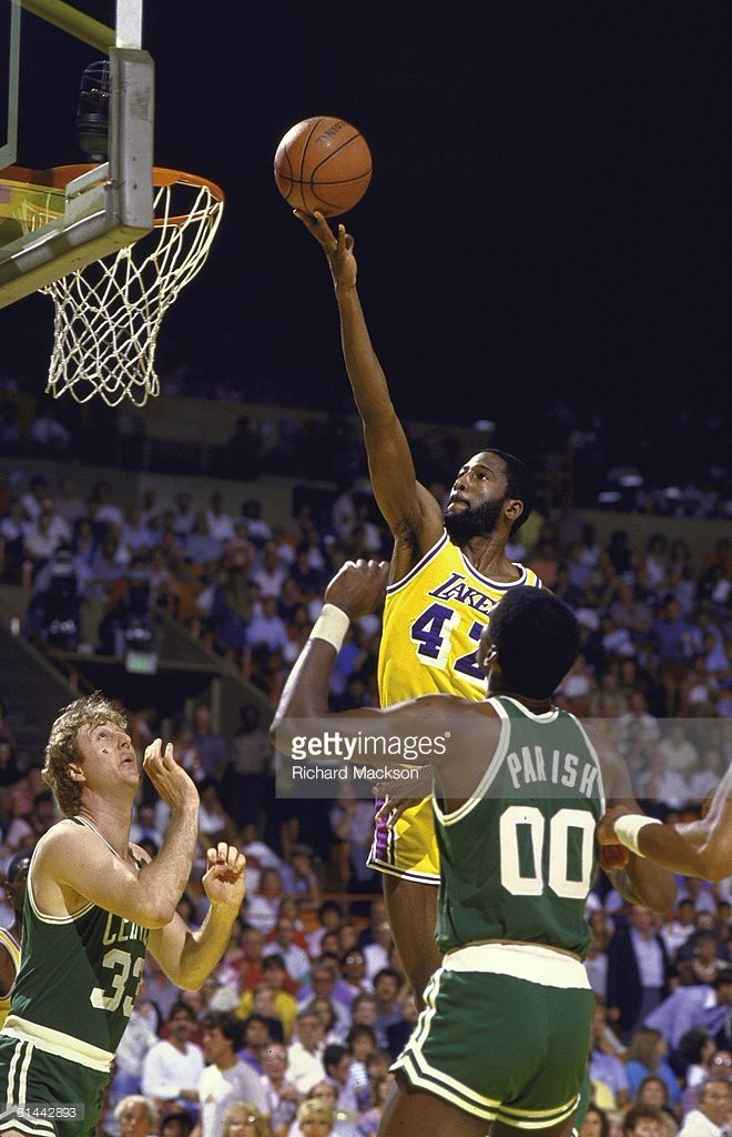 finals, Los Angeles Lakers James Worthy (42) in action, taking layup vs Boston Celtics, Los Angeles, CA 6/3/1984--6/10/1984