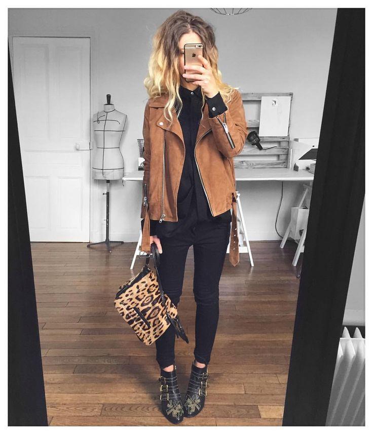 @meleponym sur Instagram : Perfecto camel + Skinny noir + Sac léopard
