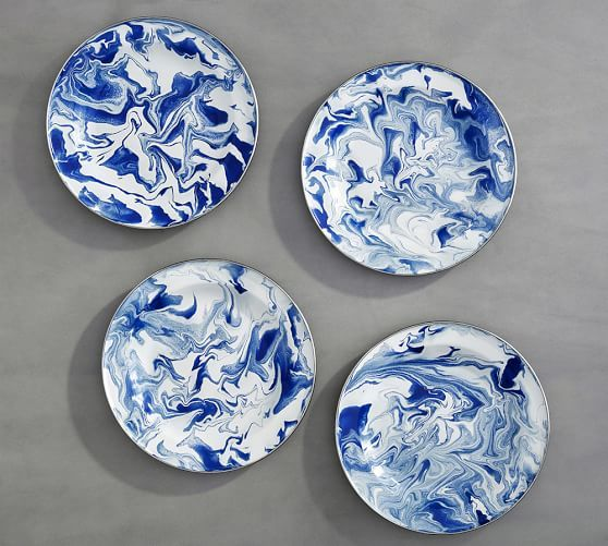 Marbleized Dinner Plate, Set of 4 | Pottery Barn
