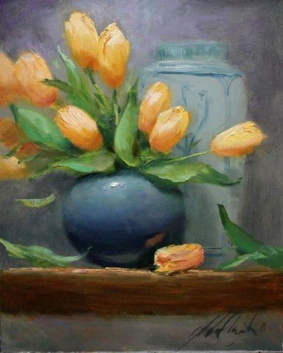 'Tulips in Blue', painting by artist Justin Clements