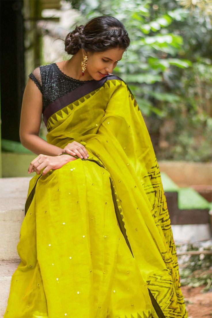 Lime Green silk Kota saree with mirror work and black temple border  #saree #blouse #houseofblouse #indian #bollywood #style #limegreen #green #black #chevron #triangles #mirrorwork