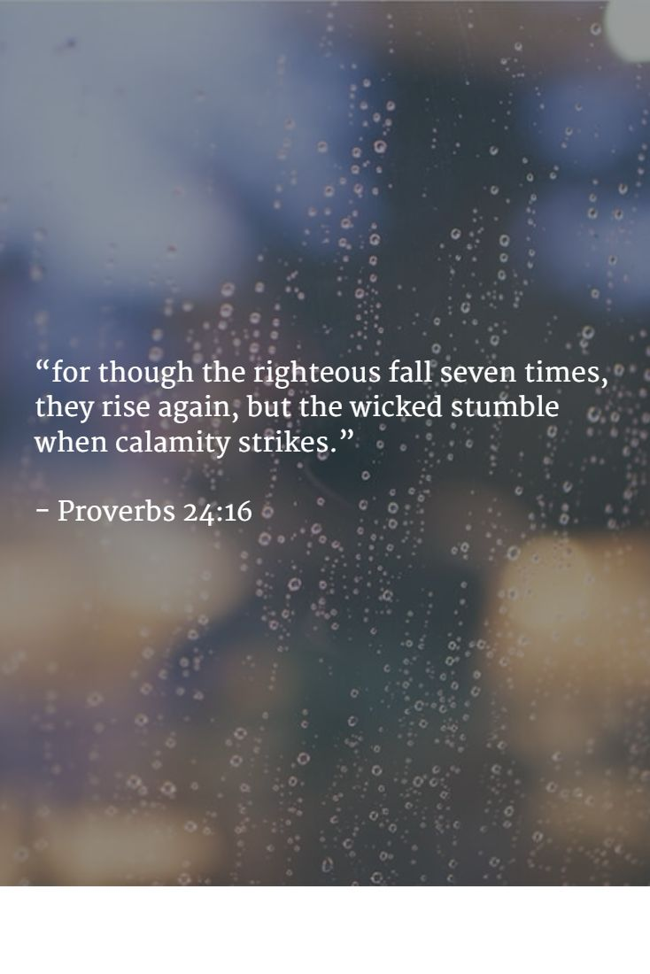 """""""for though the righteous fall seven times, they rise again, but the wicked stumble when calamity strikes.""""   - Proverbs 24:16"""