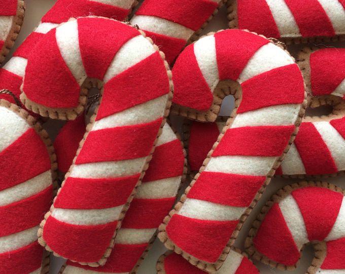 """5"""" pan de jengibre Candy Cane bastón de caramelo de ornamento decoraciones Candy Cane navidad ornamento Gingerbread adornos-bastón de caramelo de fieltro-fieltro adornos"""