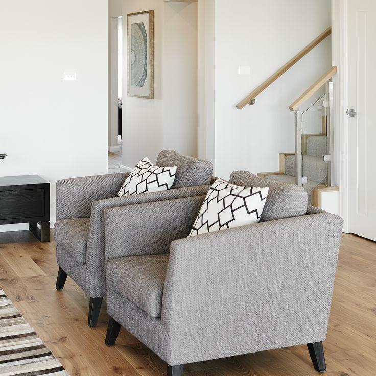 #armchairs #grey #cushions #floorboards #stairwaytoheaven #stairs #wallart #rugs #textures #styling #familyarea