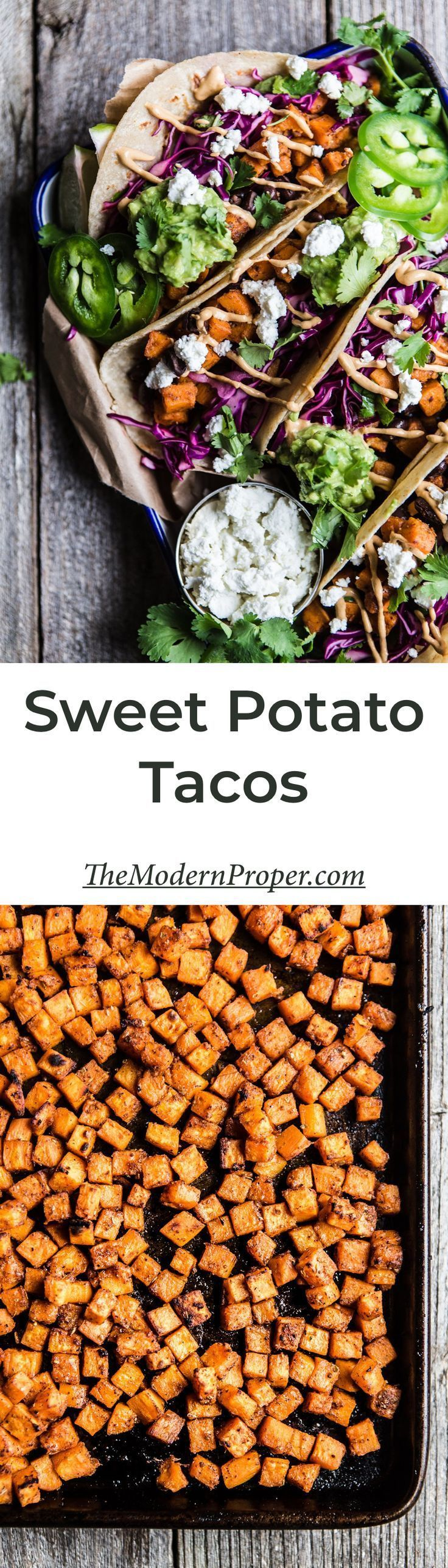 Vegetarian Sweet Potato Tacos with Chipotle Crema #tacos #dinner #recipe