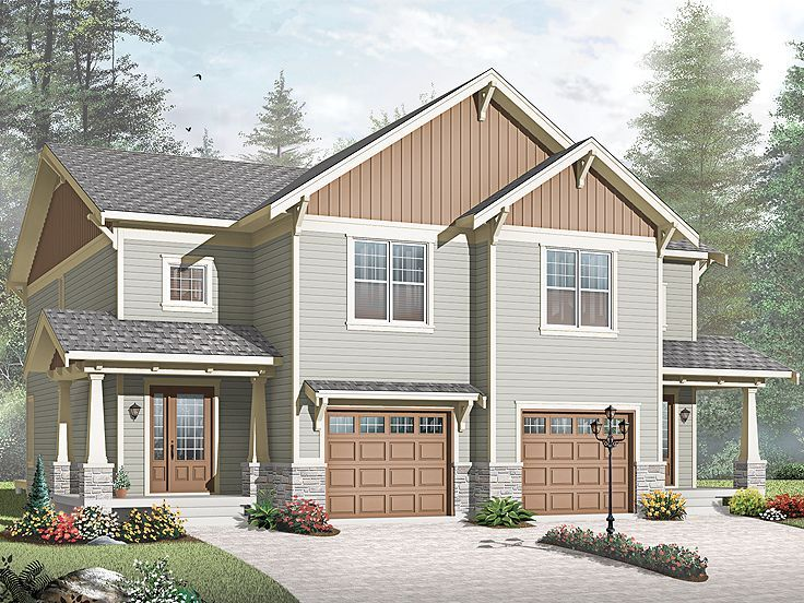 55 best project floorplans twin homes images on for Duplex project homes