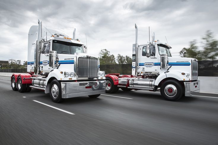 Penske Truck Rental is now open for business in #Brisbane #Australia and rents heavy-duty prime mover trucks from MAN and Western Star. Pictured here are two Western Star trucks branded with the Penske Truck Rental name. #trucking #logistics #supplychain #trucks #WesternStar #MANGroup #Penske