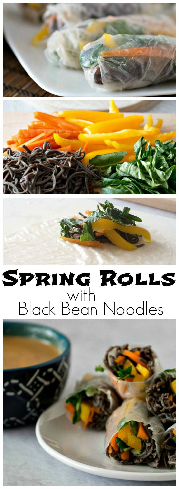 These easy to make Spring Rolls use Black Bean Spaghetti and lots of fresh veggies, like carrots, bok choi and yellow peppers, served with peanut dipping sauce.