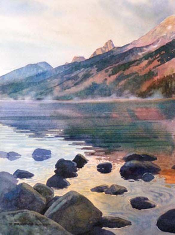 Jenny Lake Rocks original watercolor painting of Lake Powell landscape by David Drummond at Wilcox Gallery
