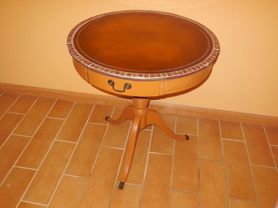 Leather Top Table With Tile Border Accent By VintageStuller, $200.00