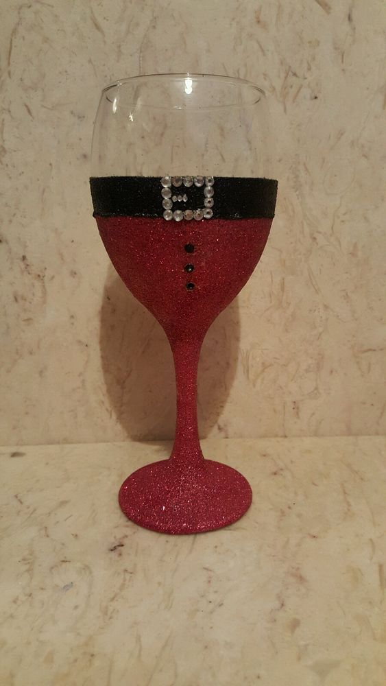 Christmas Santa glittered wine glasses