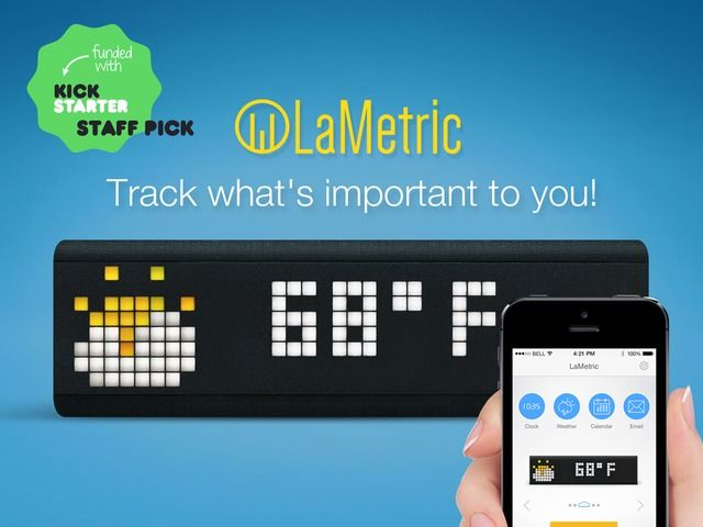 LaMetric. Hackable, real-time smart display: receive and act on notifications, tasks, workout timers, business metrics, emails, news and more!