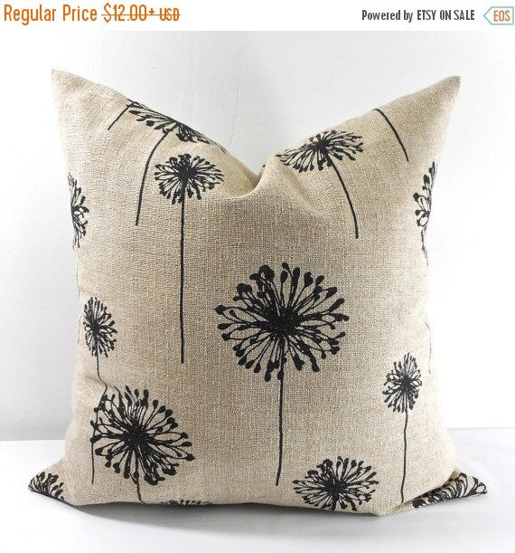 PILLOW SALE BEIGE Pillow cover. Black  by TwistedBobbinDesigns