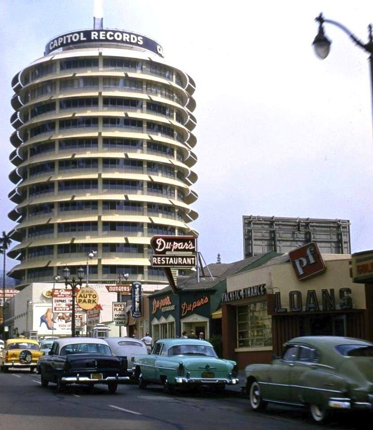 Capitol Records building, Vine Street, Hollywood, 1956