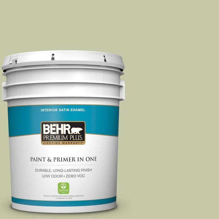 BEHR Premium Plus 5-gal. #M350-3 Sap Green Satin Enamel Interior Paint
