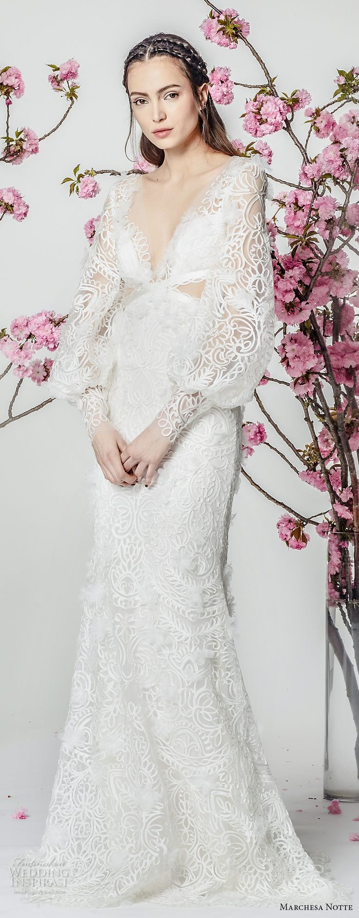 marchesa notte spring 2018 bridal long bishop sleeves deep v neckline full embellishment elegant fit and flare wedding dress sweep train (10) mv -- Marchesa Notte Spring 2018 Wedding Dresses