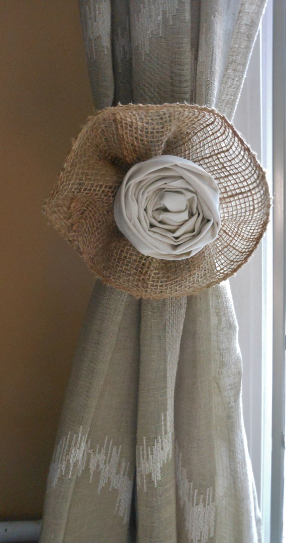 Shabby Chic Burlap and Linen Curtain Tie Back  by chelseasbowtique, $18.00