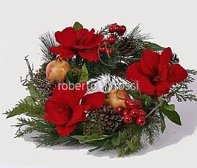 Amaryllis flower wreath with pomegranate
