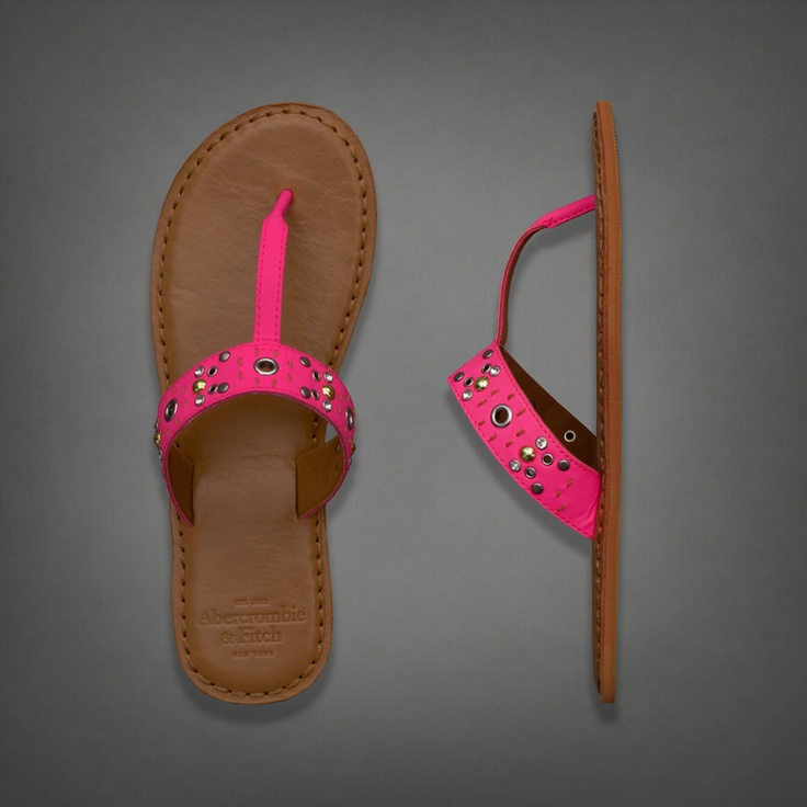 Womens Studded Leather Flip-Flops | #ABERCROMBIEHOT | Abercrombie.com