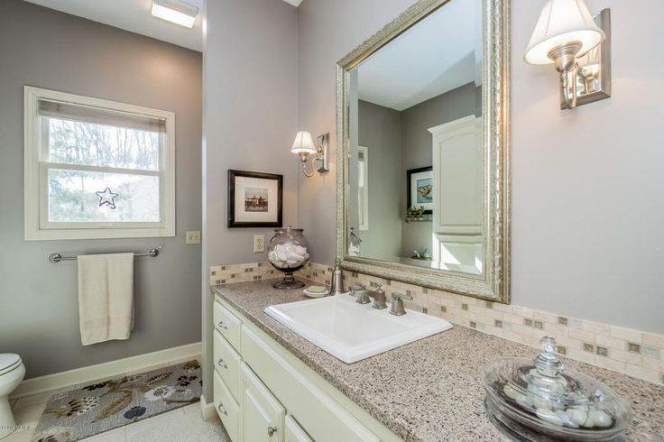 Transitional Full Bathroom with Grantley Medium Wall Mirror by Darby Home Co, Kingsley Wall Mounted Towel Bar by Moen