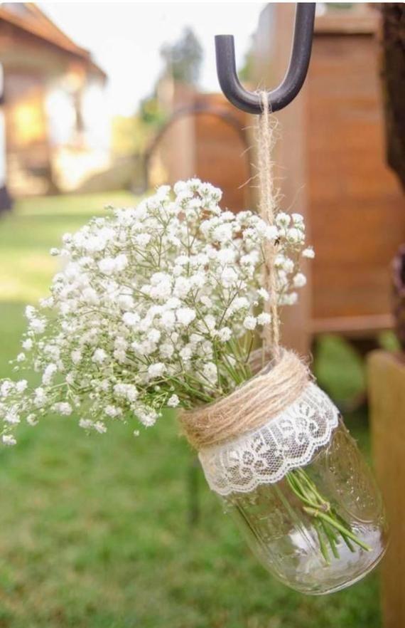 Rustikales / Vintages / klassisches / Bauernhaushochzeitsweckglas / Eimerdekor für Inselgehweg-Dekorationsmitte – Andrea