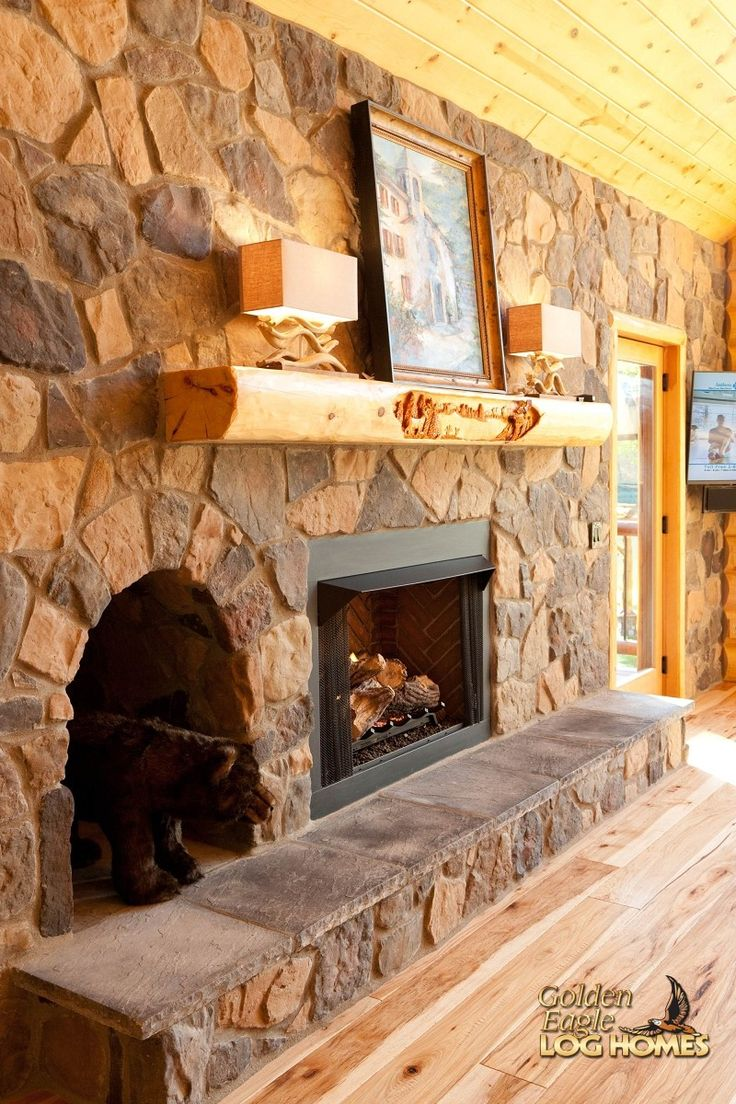 Log Home By Golden Eagle Log Homes - Stone Fireplace Interior