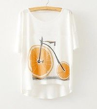 Wish | Unique Fashion Orange Bike Print White Batwing Short Sleeves T-shirt One Size