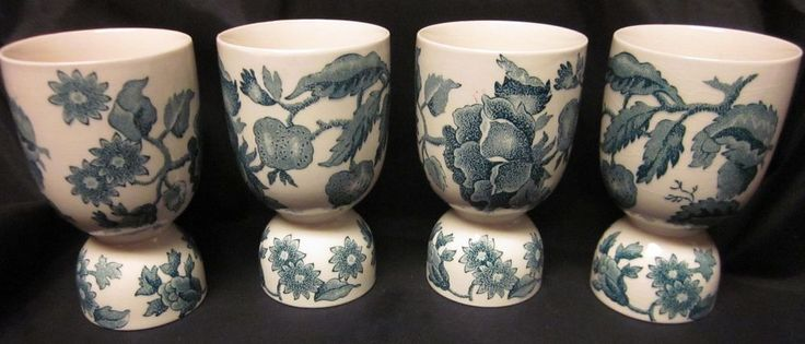 """4 #Antique #Transferware Double Egg Cups from England in green 4 DOUBLE EGG CUPS VTG ENGLAND Porcelain Transferware Green Rose Berry Vine 4"""""""