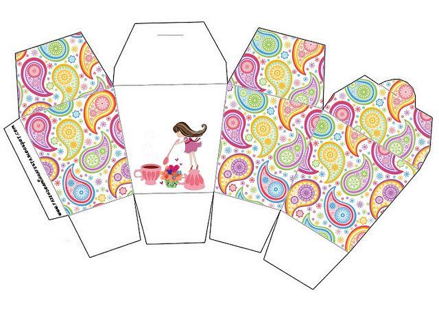 Fiesta de Té de Chicas: Cajas para Imprimir Gratis.