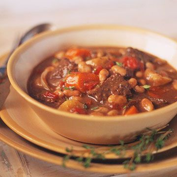 This healthy beef stew is brimming with colorful, nutritious vegetables and makes a cozy, comforting dish. It's served over couscous to make it a complete meal.