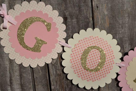 God Bless BannerPink and Gold Baptism Banner by CraftedOccasions