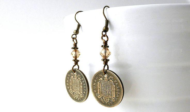 Spanish earrings, Coin earrings, Vintage earrings, Swarovski earrings, Colorado Topaz, Spanish jewelry, Rustic earrings, Coin jewelry, 1953 by CoinStories on Etsy