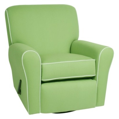 This chair meets all my criteria - good (recent) reviews, clean lines, happy color, reclines, and rocks.  Maybe Vivi's nursery colors should focus on aquas and greens with touches of pinks?