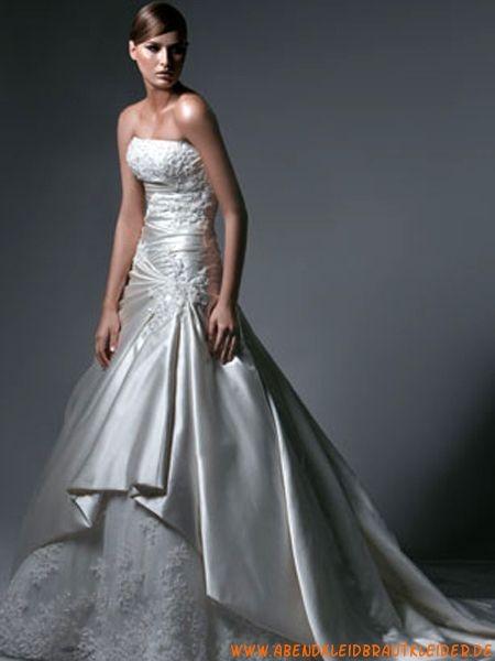 Luxuriöse trägerlose Princess-stil gestupfte Hochzeitskleider aus Satin