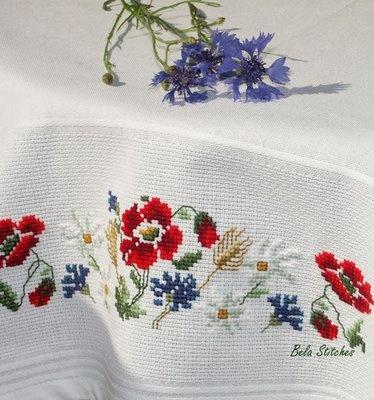 wild flowers tablecloth - cross stitch