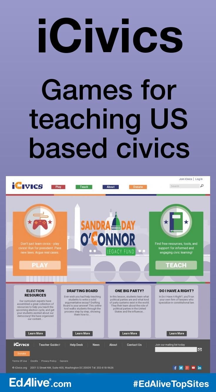 Games for teaching US based civics | Offers high-quality and engaging games for students to play and learn about US based civics. Lesson plans help teachers incorporate the games in the classroom. It is a non-profit organization dedicated to reinvigorating civic learning through interactive and engaging learning resources. Educational resources empower teachers and prepare the next generation of students to become knowledgeable and engaged citizens.  #SocialStudies #EdAliveTo