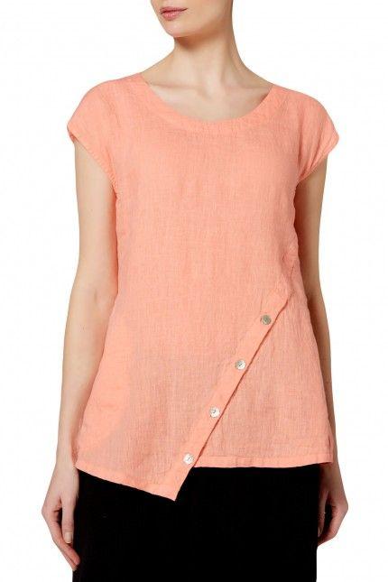 Sahara Linen Asymmetric Button Tunic