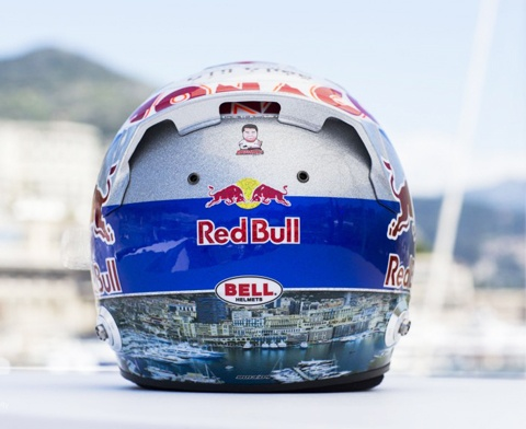 Daniel Ricciardio helmet featuring spectacular harbour of Monte Carlo port.