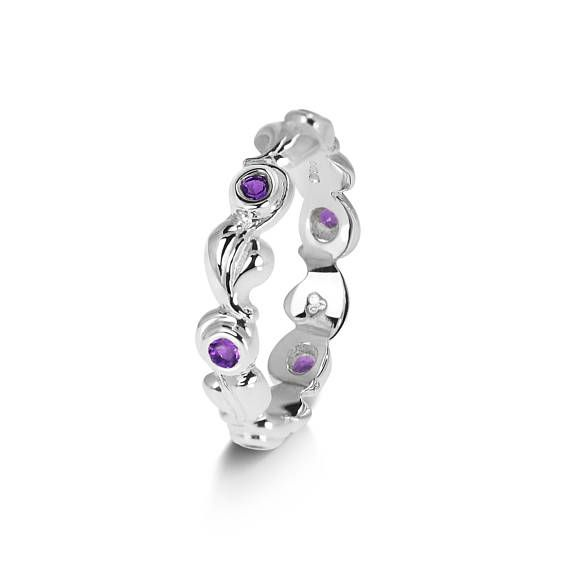 Butterfly Back Round Earrings Natural Amethyst For Women Sterling Silver February Birthstone Jewellery 8oQjAN