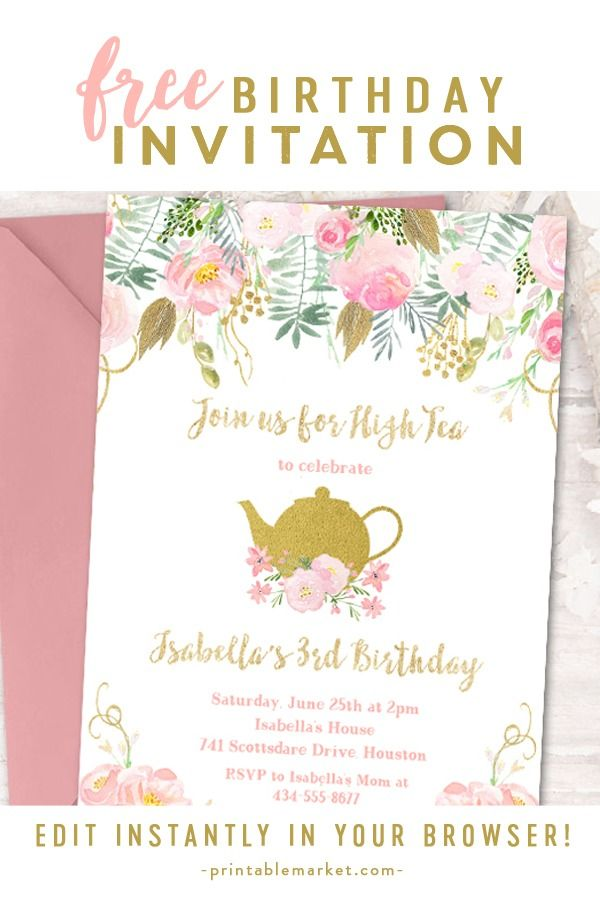 Free Editable Birthday Party Invitation Template Tea Party Watercolor Flowers Gold Glitter Instant Download Printable Instantly Personalize Printable Ma Party Invite Template Tea Party Invitations Party Invitations Printable