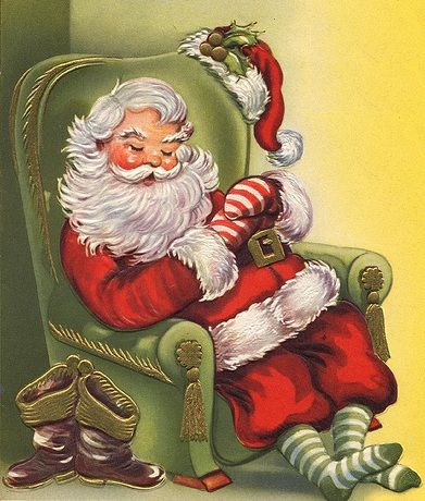 Joulun kuvitus - Vintage kuvia - Snoozing Santa