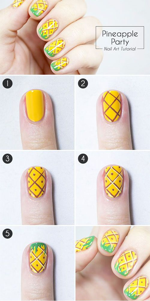 nail art beginners - ananas nagels