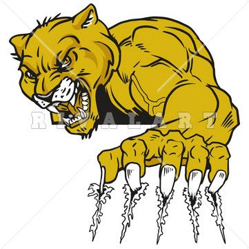 Mascot Clipart Image of Panthers Cougars Tearing Ripping Claw Marks Graphic Color